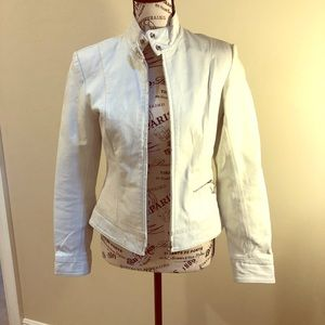 Newport News leather jacket tailored and white